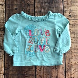"(4 for $5) Mint Green / Teal Cherokee ""Love"" Top"